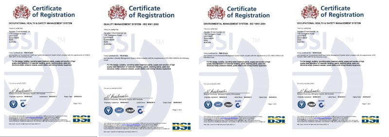 QA Safety Enviro Certifications 2011